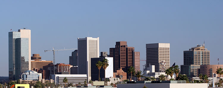A panoramic shot of Downtown Phoenix