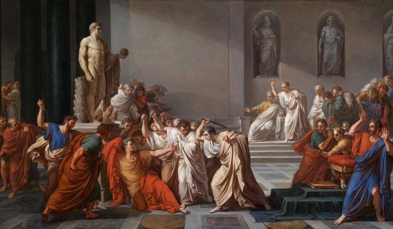 On the Ides of March, Julius Caesar was stabbed to death in the senate house by a gr