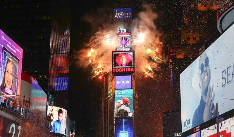 The ball signifying the New Year was dropped for the first time at Times Square in New York City.