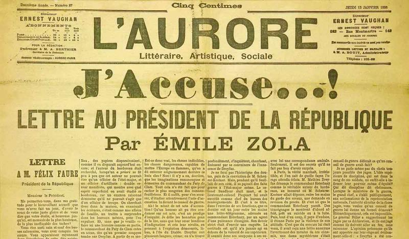 "French writer Emile Zola published his ""J'Accuse"" letter, accusing the French of a cover-up in the Dreyfus Affair"