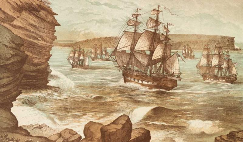 The First Fleet, carrying convicts and sheep, arrived in Australia's Botany Bay.