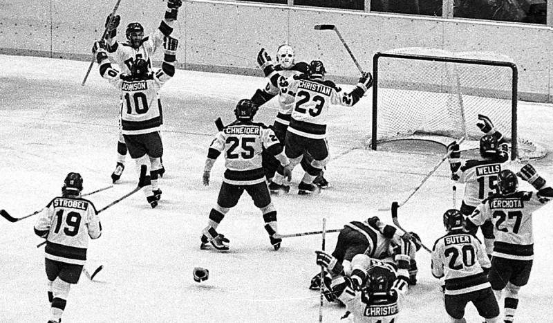 In a major upset, the U.S. Olympic hockey team defeated the Soviets 4-3 at Lake Placid, N.Y.
