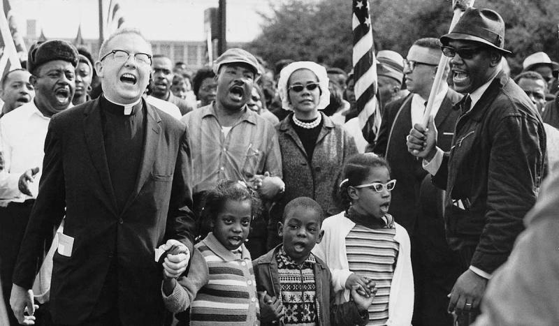 Martin Luther King, Jr., led the start of a civil rights march from Selma to Montgomery, Alabama.