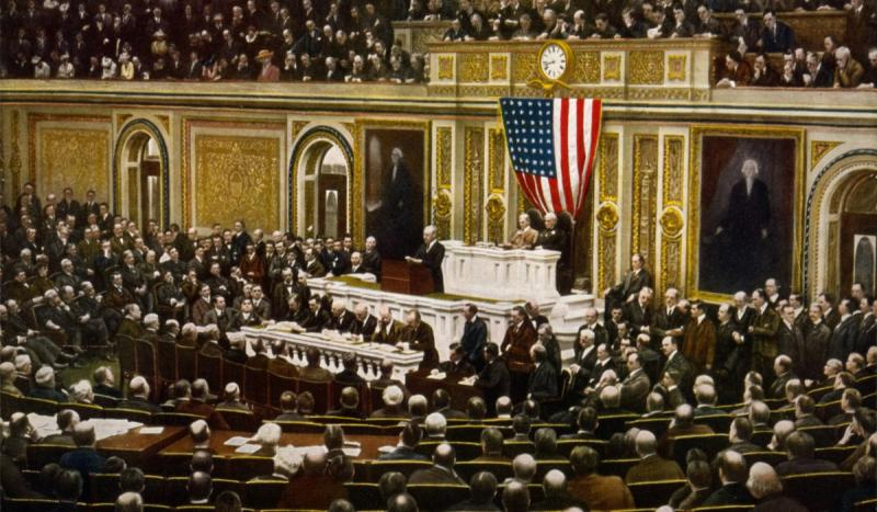 President Woodrow Wilson asked Congress to declare war against Germany.