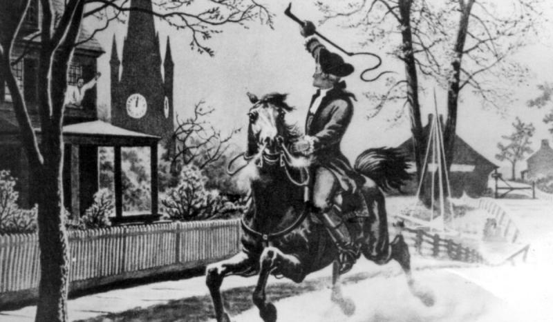 Paul Revere rode from Charlestown to Lexington to warn Massachusetts colonists of the arrival of Bri