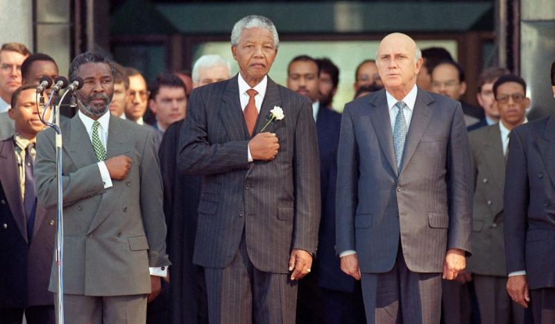 Nelson Mandela was sworn in as South Africa's first black president.