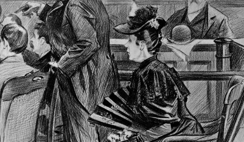 Lizzie Borden, accused of murdering her parents, was found innocent by a jury in New Bedford, Mass.