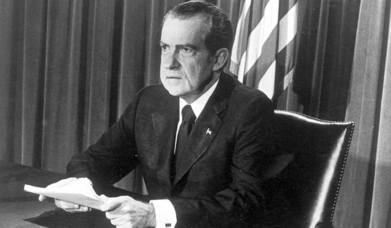President Nixon announced he would resign the following day as a result of the Watergate scandal.