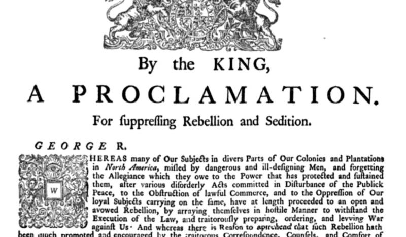 King George III proclaimed the American colonies to be in open rebellion.