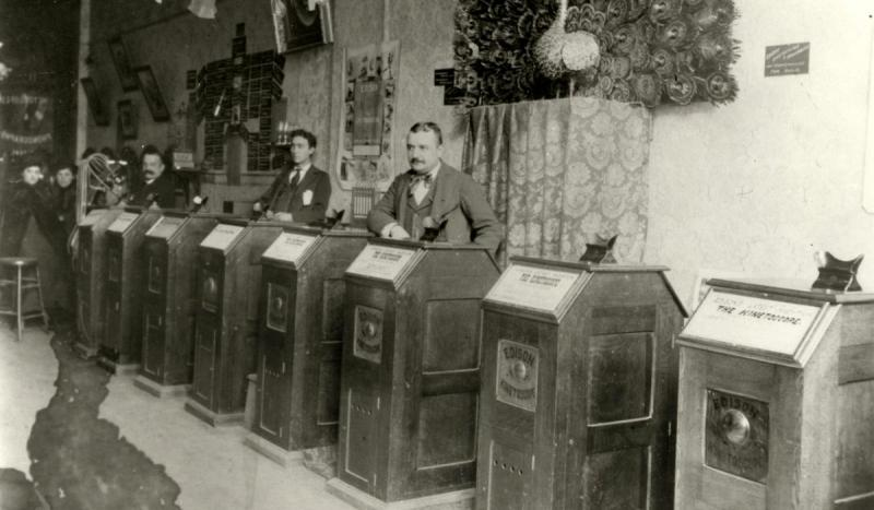 "Thomas Edison received a patent for his ""Kinetoscope,"" and moving pictures were born."
