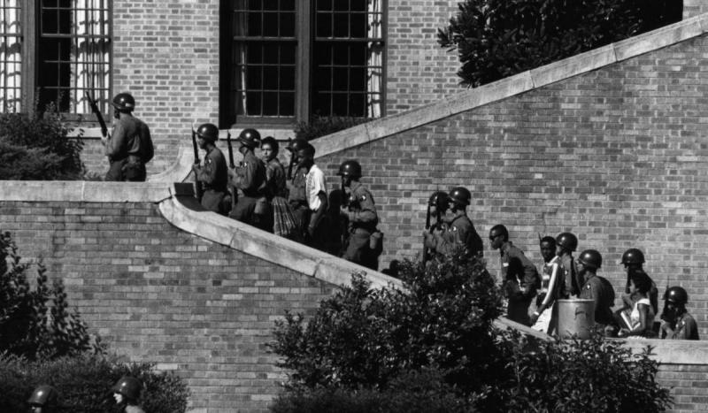 Nine black students attempted to enter Little Rock's Central High School but were blocked by the Nat