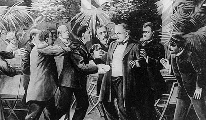 President William McKinley was shot by anarchist Leon Czolgosz at the Pan American Exposition in Buf