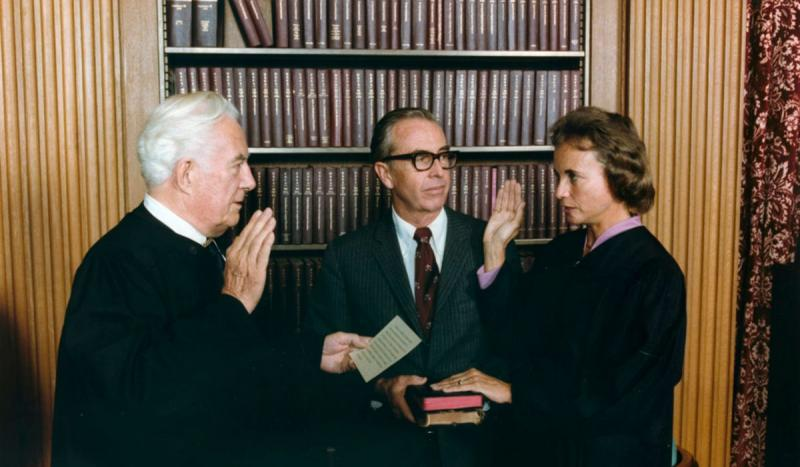 Sandra Day O'Connor was sworn in as the first female justice on the Supreme Court.