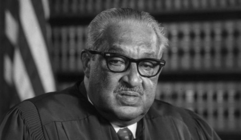 Thurgood Marshall was sworn in as the first black associate justice of the U.S. Supreme Court.
