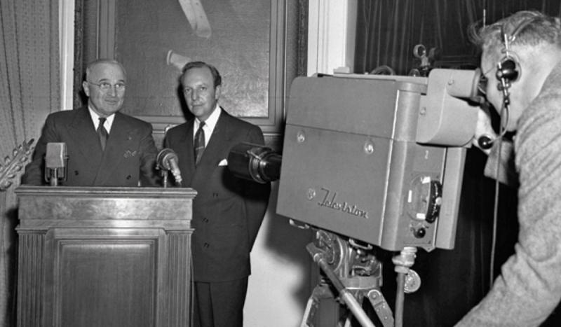 In the first televised White House address, President Truman urged Americans to refrain from eating