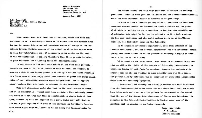 A letter from Albert Einstein was delivered to President Franklin D. Roosevelt concerning the possib