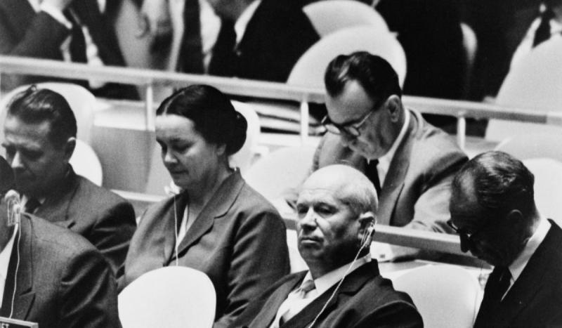 Soviet premier Nikita Krushchev created a disturbance at the U.N. General Assembly by pounding his d