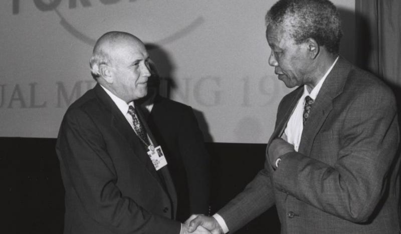 Nelson Mandela and F. W. de Klerk were awarded the Nobel Peace Prize for their work to end apartheid