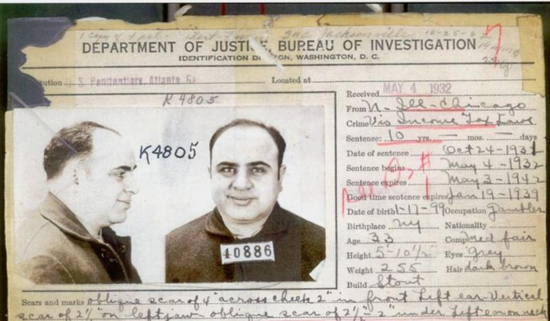 Mobster Al Capone was convicted of income tax evasion for which he was sentenced to 11 years in pris