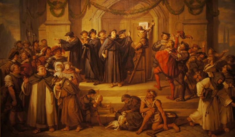 Martin Luther posted the 95 Theses on the door of the Wittenberg Palace church, marking the start of