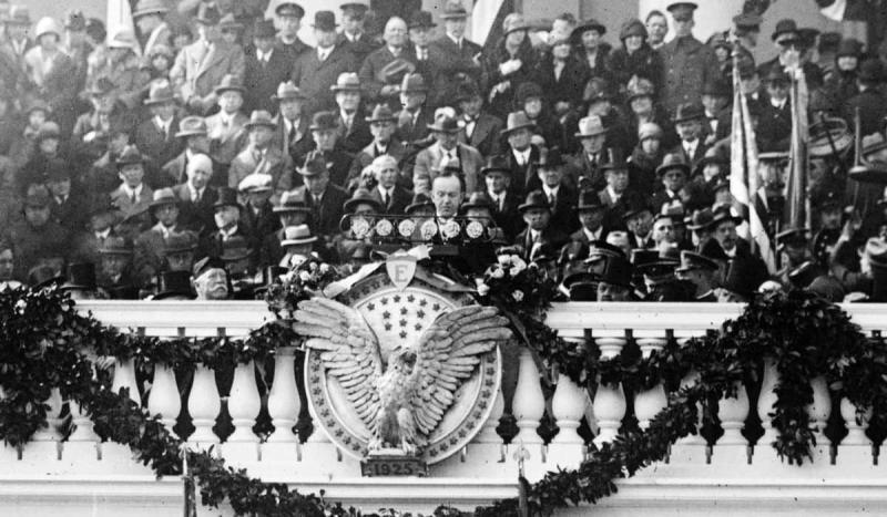 A presidential address was broadcast on the radio for the first time when Calvin Coolidge spoke befo