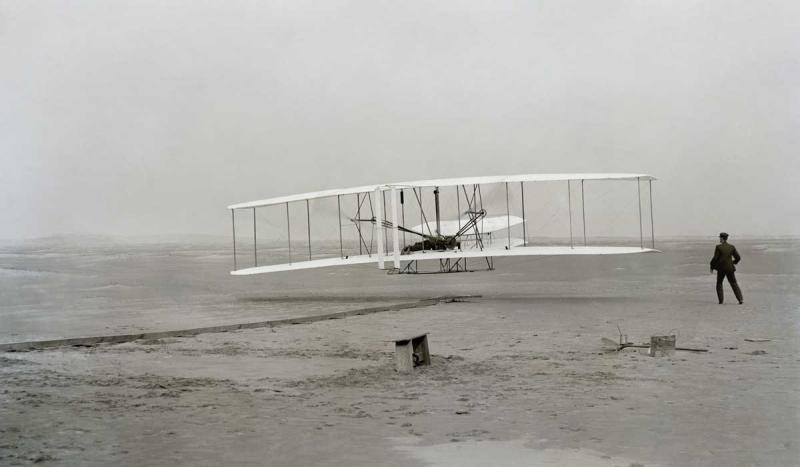 Orville and Wilbur Wright made the first flight in a heavier-than-air plane at Kitty Hawk, N.C.